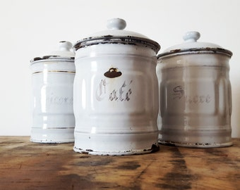 1930's French Kitchen white and gold CANISTERS SET of 3/French enamelware/ French decor /French kitchen /Shabby