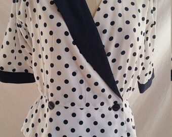 Vintage Discovery blouse navy blue  and white polka dots made in Australia size 12