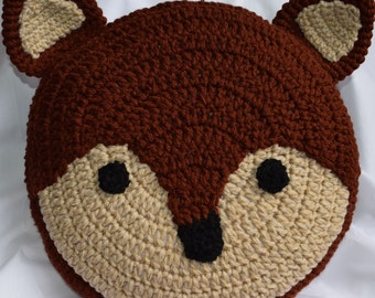 Fox Pillow / Crochet Fox Pillow / Fox Cushion / Crochet Animal Pillow / Woodland Decor / Nursery Room Décor
