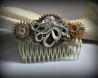 Octopus hair accessories-Steampunk hair comb-hair fork-watch parts steampunk hair comb-gothic hair clip