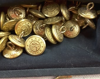 Lot of 45 vintage brass Akron Police buttons, Waterbury button co.