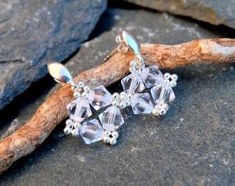 Small Swarovski Crystal Earrings-Sterling Silver Stud Earrings-Square Earrings-Wedding Crystal Evening Earrings-Classic Delicate Earrings