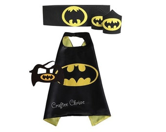 Batman cape, mask, belt and wristband/ superhero/ childrens cape/ costume/party favor/kids/ stocking stuffer