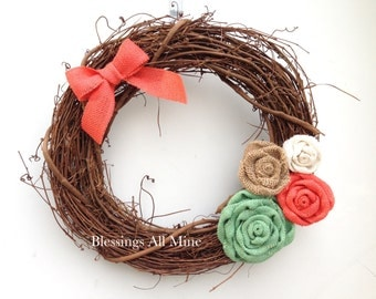 14 inch Grapevine Wreath, Mint, Coral, White, Sand Burlap Flowers with Mini Bow Spring Summer Wreath, Wedding, Bridal Shower Wreath, Gift