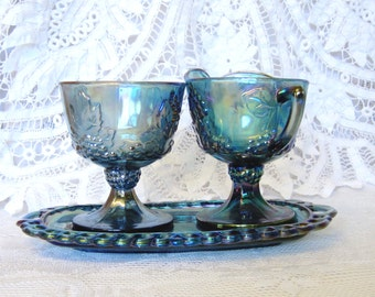Iridescent Carnival Glass Creamer Set with Tray, Harvest Grape Pattern, Iridescent Blue, Indiana Glass