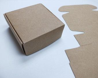 "10pcs Kraft Paper Box (2.95 x 2.95 x 1.18"") - Brown Paper Box - Gift Box - Wedding Favor Box - Jewelry Box - Handcrafts Packaging 022"