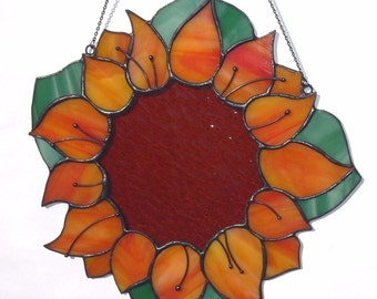 Stained Glass Large Suncatcher Sunflower Tiffany Glass Home decor