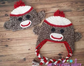 ON SALE NOW Crochet Sock Monkey Hat--Made to Order