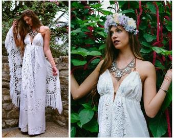 Wedding dress, Boho Wedding Dress, Bohemian wedding dress, Beach wedding dress, Halter wedding dress, lace wedding dress, crochet lace weddi