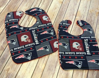 Handmade New England Patriots Baby or Toddler Cotton and Red Minky Bib, Patriots Baby Bib, Patriots Toddler Bib, New England Patriots Bib,