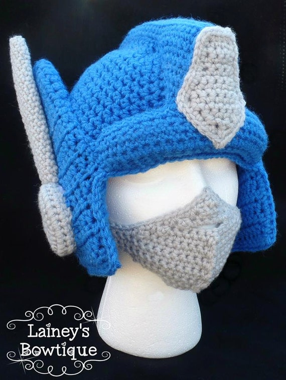 Crochet Pattern For Optimus Prime Hat : Optimus Prime Crochet Hat with Removable Adjustable Mask