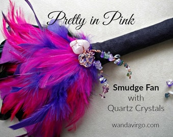 Pretty in Pink Smudge Fan for Clearing the Energy Body and your Personal Space