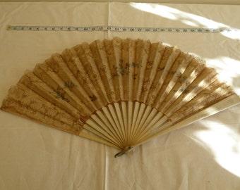 Antique silk, lace and wood cream ladies hand held fan, wedding, bridal fan. Steaampunk fan. Gothic fan. Victorian fan. 1800s fan.