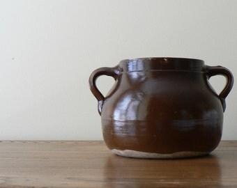 Large Brown Crock, Salt Glazed Rustic Brown Utensil Crock, Two Handled  Stoneware Crock,