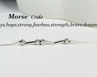 Star Morse Code Necklace,Morse Code Bracelet, always,strength,hope,strong,fearless,brave,faith,fast,,,, Morse Code Jewelry,  Gift fr her,