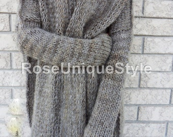 Limited addition . Slouchy/Bulky /Oversized sweater.Chunky knit sweater. Marble grey sweater. Loose fit  wool sweater.