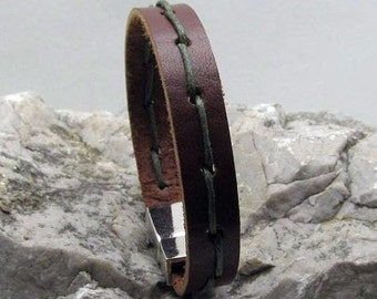 FAST SHIPPING, Men's Leather Bracelet. Custom Bracelet. Leather Bracelet. Men Leather Bracelet. Genuine Leather. Men Leather.magnet clasp