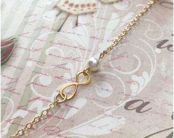Little Girl Infinity Necklace - Flower Girl Gold Necklace - Tiny Infinity Necklace with Swarovski Pearl - Gift for Daughter Present for Girl