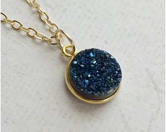 Gold Blue Pendant Necklace - Round Druzy Jewelry - Bright Blue Necklace - Birthday Gift - Bridesmaid Jewelry - 14k gold fill Drusy Necklace