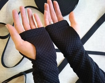 Black fingerless gloves arm warmers jersey  - ARW-Q3 black