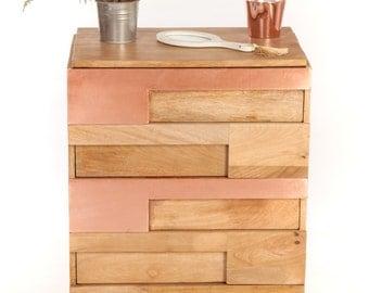 Convenient multi-drawer copper wood