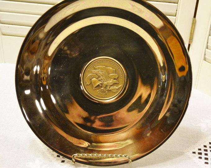 Vintage Bicentennial Plate Dirilyte Gold Tone Metal Eagle Flag Liberty Bell 1976 PanchosPorch