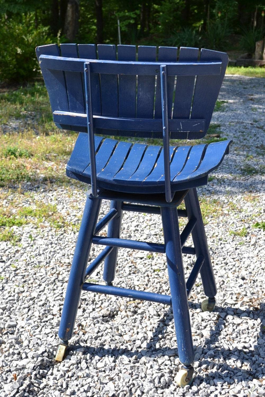 Vintage Wood Slat Stool Blue Painted Furniture Rolling Wheels