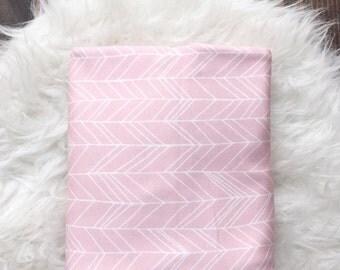 Pink heringbone swaddle blanket, Pink baby blanket, Baby Swaddle Blanket/ receiving Blanket
