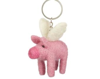 Flying Pig Keyring - Felt Animals - Needle felted - Wool felt - Original Gift - Children gift under 5 - Merino wool - Ethical - Handmade