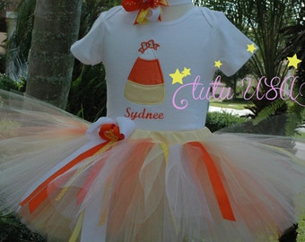 Candy Corn  Tutu 1st Birthday Girl Outfit, One Year Old Girls Outfit,  Baby Girl tutu, Personalized,Fall Baby Girl  Candy Corn Tutu Outfit,