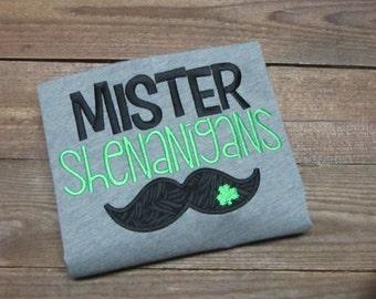 Mister Shenanigans  boys embroidered st. Particks day shirt - St. patrick day shirt -  St. pattys day shirt