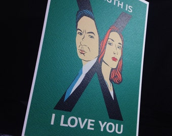 The X Files Mulder and Scully Greetings Card. The Truth Is Out There!