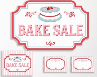 Bake Sale Sign PRINT YOURSELF Printable Pack Backdrop Sign Tent Card Food Label Cake Cakes Stall Pink Red Blue Instant Download Labels