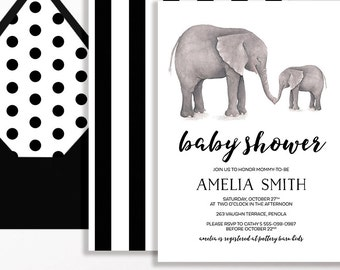Elephant Baby Shower Invitation Sprinkle Black White Stripe Spot Watercolour Printable Gender Neutral Modern Script Elephants Safari