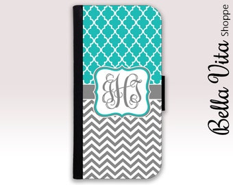 Monogram iPhone 6 Wallet Case, iPhone Wallet Case, iPhone Wallet Leather, iPhone 6S Wallet Case, Monogrammed iPhone Case, Lattice Teal I6W