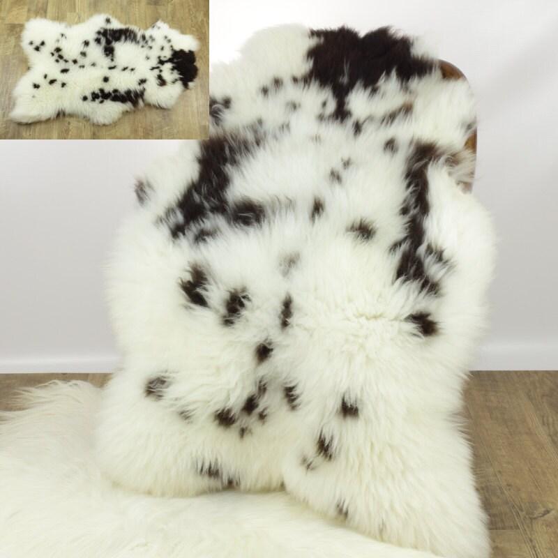 Sheepskin Rug Short Pile: Sheepskin Rug / Throw Large Cushy White Brown Spotted