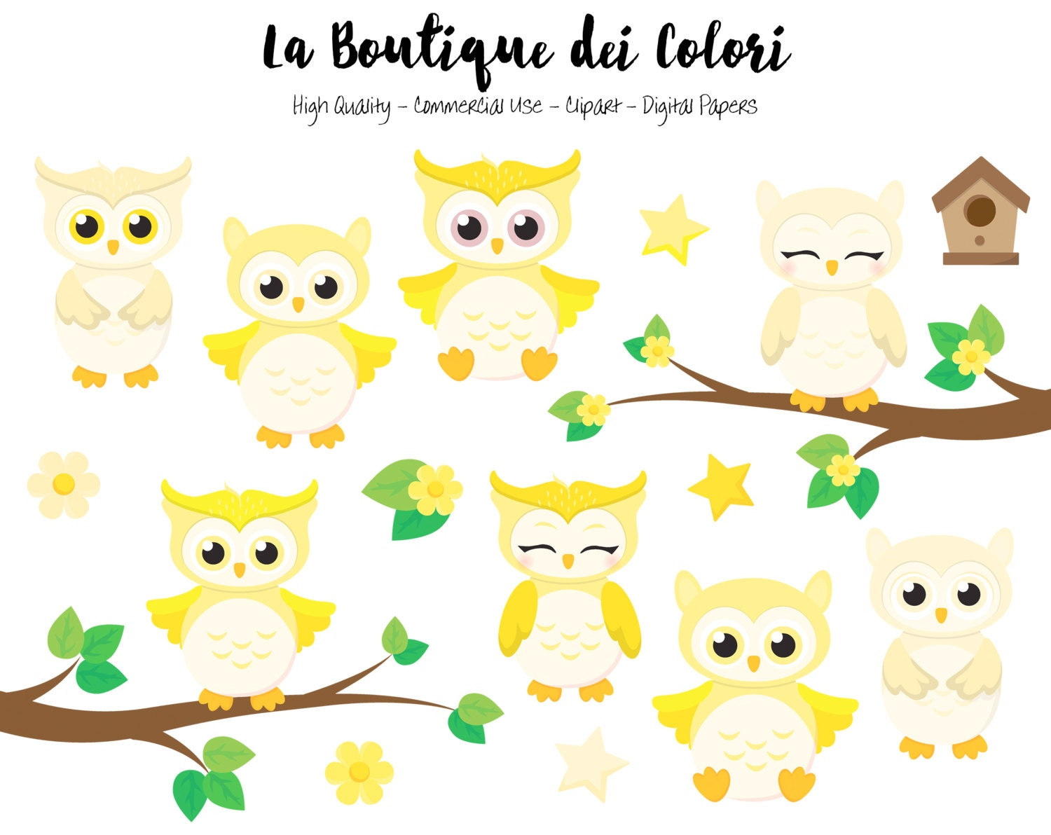 Yellow Baby Owls Clipart Cute Graphics PNG Birds animals