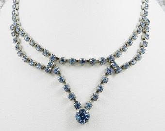 Vintage Rhinestone Statement Necklace Light Sapphire Blue Silver Tone Finish Resale Bride