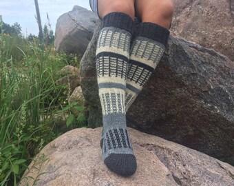 Hand knitted home socks Thigh High Socks Hand knitted socks Colorful handmade socks Over the knee socks, Unique womens socks, Hippie socks