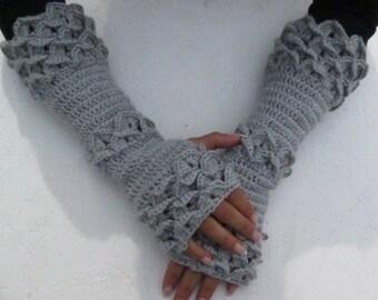Dragon scale gloves women gray Fingerless Gloves, gray long  fingerless  Crochet Arm Warmers  winter  gloves  wedding arm warmer winter glov