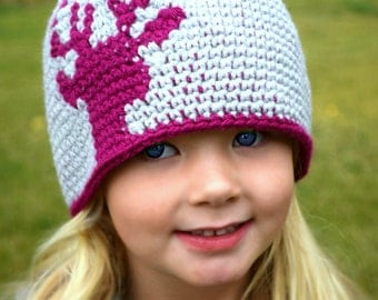Kids Deer Hat, Toddler to Adult sizes, Deer/Elk Beanie, Childrens Fall Winter Hat, Kids Hat Accessories, Toddler Beanie, Deer Silhouette Hat