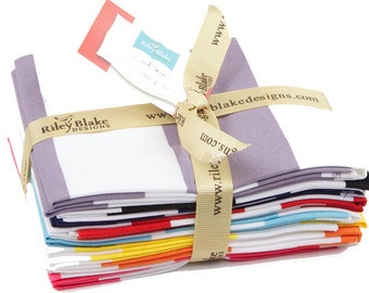 Two Inch Stripe Fat Quarter Bundle - 8 Different Cotton Quilt Fabric Prints - Riley Blake Designs - FQ-550-8 (W3234)