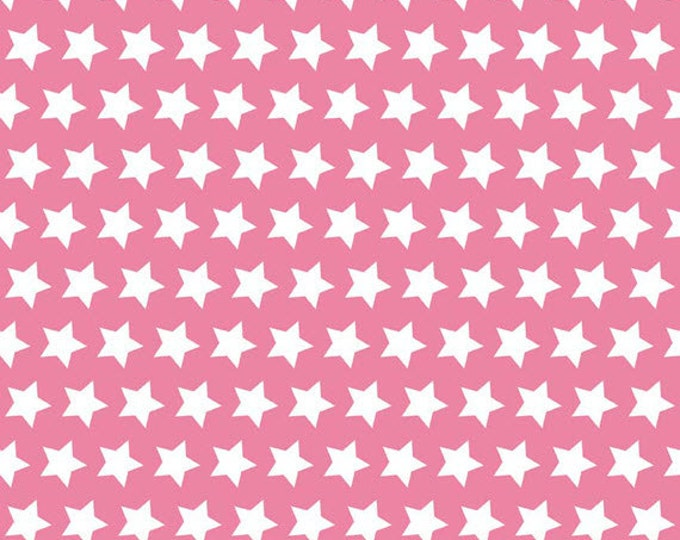 Half Yard Riley Blake 2015 Basics - Stars in Hot Pink - Cotton Quilt Fabric - by The RBD Designers for Riley Blake - C315-70 (W3251)
