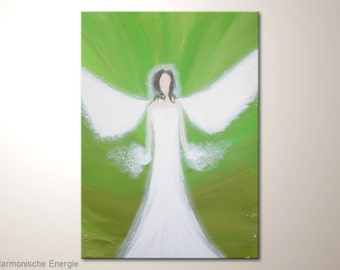 """Abstract canvas art angel painting in green white colors: """"Harmonic energy"""" - 20x28 inches - fine art modern artwork"""
