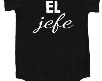 El Jefe (The Boss) Spanish Funny Baby Bodysuit Awesome Creeper Ropita de Bebe en Espanol Black w/White Cool Personalize Baby Shower Gift