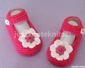 Hand Knitted Designer Baby Girl Booties Mary Jane Newborn Special Occasion Baby Shower Original Reborn Doll #31