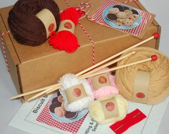 Knitting & Crochet Kit for a Selection of Biscuits / Cookies - Knitted Food, Toy Food, Play Food