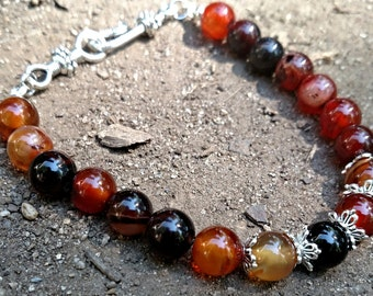 Fire Agate beaded  bracelet