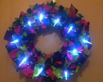 Light up wreath, dragonfly decor, fabric wreath, home decor, handmade wreath, wall wreath