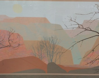 """Vintage signed and numbered lithograph, overall 40"""" x 24"""""""